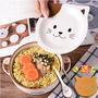 送餐具4件組!日本多功能陶瓷貓咪泡麵碗盤組 送湯匙叉子 可愛創意貓咪陶瓷情侶親子餐具組 可微波 防燙手把 點心水果盤蓋 生日禮物《波卡小姐 貓咪小物》FD0002