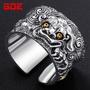 (潮流)925銀飾復古泰銀開口貔貅戒指男純銀潮霸氣食指環復古夸張個性戒