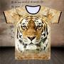 【推薦】帶老虎頭像圖案的t恤 金黃 叢林老虎 男士 寬松大碼 衣服 霸氣