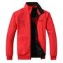 春秋新款男式運動休閒外套青年雙面穿立領撞色保暖薄款夾克大紅喜慶紅衣服