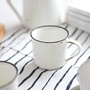 復古陶瓷杯 家用馬克杯 創意咖啡杯 仿搪瓷杯 牛奶杯 懷舊杯 迷你水杯 撞色杯口