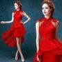 紅色蕾絲露背中式新娘前短後長婚紗禮服旗袍敬酒服H620