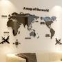 【現貨】3D壓克力世界地圖壁貼 立體牆貼 辦公室勵志沙發背景大面積玄關 房間裝飾 居家裝飾壁貼 復古世界地圖