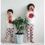 現貨區,韓國男女兒童2016秋冬新款棉家居服内衣褲衣睡衣套装/紅蘋果