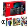 Nintendo Switch 主機 灰黑 (電池加強版)+健身環大冒險同捆組+超級瑪利歐派對中文版+Joy-Con 左右手控制器 藍黃 特殊色/不區分