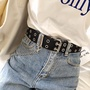 abaoxiong【现货】雙排孔時尚造型皮帶設計自制ins超火圓環女士腰帶鏈條朋克風BF潮