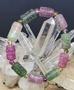 西瓜碧璽雕刻迴紋桶珠手串