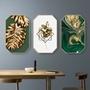北歐創意八邊形裝飾畫客廳背景墻掛畫ins綠植物金色玄關壁畫《台北日光》