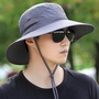 Sun hat men outdoor sun visor in summer face uv protection men breathable sun fishing fisherman hat - intl