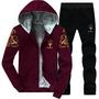 【兩件套】瑪莎拉蒂Y7套裝冬季新款運動套裝加絨休閑寬松男士衛衣連帽外套