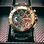 賓馬王黑鋼錶帶黑底三眼銀框