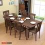 【RICHOME】TA315+CH1020*6安娜可延伸實木餐桌椅組(一桌六椅)-2色專人宅配 餐椅 餐桌 餐組 木桌
