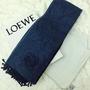 Loewe 羅威 克什米爾 天藍深藍 經典LOGO圍巾