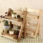 【桌面小花架-ZM005-小號-30*17.5*35cm-1套/組】杉木窗臺桌上迷你收納架盆栽架-5170860