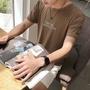 夏季衣服男韓版潮學生修身潮流刺繡日系五分袖短袖T卹文藝男港風