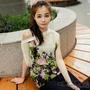 輕柔亮彩花印寬版棉麻上衣-2色-綠