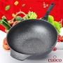 韓國製造CUOCO超大容量鈦晶岩不沾鍋大寶鍋34cm(含透明鍋蓋) 炒鍋 深湯鍋 燉鍋 煎鍋 單手鍋 八公升