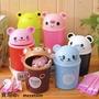【小桃子&铺】迷你創意桌面垃圾桶 可愛翻蓋雜物桶 卡通動物家用小收納桶紙簍