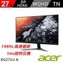 【acer 宏碁】KG271U A 27型 2K 1ms 144hz無邊框電競螢幕