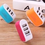 現貨-糖果色多孔發光USB充電器插頭