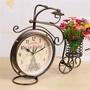 清倉!特賣表田園客廳擺自行車座鐘 歐式創意復古鐵藝 座式臺鐘靜音雙面鐘件