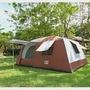 【LIFECODE】《二房一廳》抗紫外線超大8人帳篷(二門四窗)-咖啡色