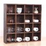 【精品特賣】  燒桐木茶杯架 實木收納柜 功夫茶具茶壺多寶格 博古架 置物16格架