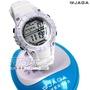 JAGA捷卡 雙配色 多功能休閒運動腕錶 白色 女錶 學生錶 電子錶 M1113-D(白)【時間玩家】防水手錶