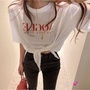 OOTD💕[正韓] Vogue綁帶棉質T恤