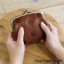 Pied Piper日本代購 BL031 kanmi自然系水玉圖案紮實牛革雙層珠扣零錢包
