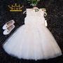 女童 畢業禮服 公主裙 小禮服 小花童 無袖蕾絲白色婚紗蓬蓬裙公主禮服 畢業典禮