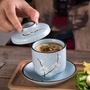 生活。文藝館美光燒 日式手繪梅花陶瓷燉盅甜品蒸蛋盅小湯盅 茶碗蒸帶蓋子茶杯