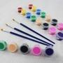 8色 壓克力顏料 DIY塗鴉彩繪顏料(附畫筆)/一組入{定30} 丙烯顏料 石膏顏料~6249