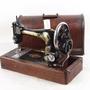百寶軒 1904年英國古董勝家Singer手搖縫紉機帶箱蓋配件基本全7.5品 ZG1984