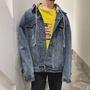 TF 韓風chic外套男牛仔外套男秋季連帽男韓版 潮流休閒寬鬆夾克上衣