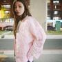 網紅明星許路兒同款ins粉色加厚棉服女 短款外套MA-1飛行員夾克