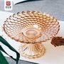 ❐居家生活居知愛歐式特大號果盤水晶玻璃創意高腳干果盤 現代 客廳水果盤子