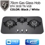 EF - 70cm Gas Glass Hob - 3 Burners - Color: White/Black Model: EFH 3838 TN VGB - FREE DELIVERY!