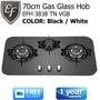 EF - 70cm Gas Glass Hob - 3 Burners - Color: White/Black Model: EFH 3838 TN VGB - FREE DELIVERY!