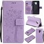 現貨供應Samsung Galaxy A8+ 2018/A8 Plus 2018壓花圖案淺紫色素色手機保護皮套