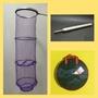 【優樂蝦舖】紫色 蝦網 - 3合1套裝組 鋁色框(含1.紫色蝦網 2.蝦網袋 3.拋光白鐵自重棒) 釣蝦網 非 蝦彩