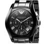 阿瑪尼手錶 黑色經典陶瓷三眼情侶錶 時尚設計石英計時防水男錶 女錶 AR1400男款/AR1401女款