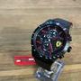 美國百分百【全新真品】FERRARI 法拉利 義大利 賽車 不鏽鋼 手錶 真皮錶帶 三眼 0830363 黑紅 J049