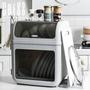 3in1日式雙層碗盤瀝水收納櫃(附鍋蓋砧板架+掛勾)