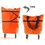 【定緰好物生活館】折疊兩用購物袋附拖輪