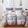 【eyah 宜雅】100%台灣製寬幅精梳純棉雙人床包被套四件組(法式優格-粉)