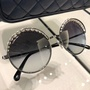 Chanel墨鏡 新款珍珠圓框墨鏡 太陽鏡 ch4234  黑色 茶色 現貨+預購