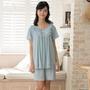 華歌爾睡衣-冰涼紗居家條紋 M-L 短袖睡衣褲裝(藍)-舒適睡衣