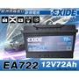 全動力- EXIDE 歐規進口電池 汽車電瓶 EA722 (72Ah)全新價 VW POLO GOLF TT T5
