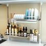 免打孔廚房置物架調料架品頂天立地瀝水碗收納碗碟架落地多層窗臺